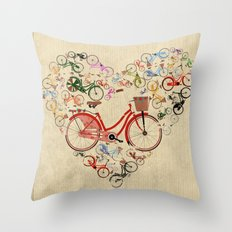 I Love My Bike Throw Pillow