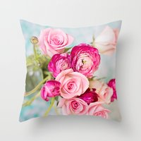 Bunches of Pink II Throw Pillow