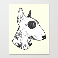 Bull Terrier Dog Tattooe… Canvas Print