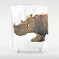 Thinking Rhinoceros Shower Curtain