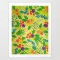 WILDFLOWER FANCY 3 - Cheerful Fresh Green Lovely Floral Garden Pattern Girly Feminine Trendy Flowers Art Print