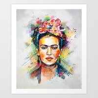 woman Art Prints featuring Frida Kahlo by Tracie Andrews