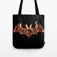 Bat On Fire Tote Bag