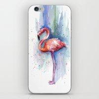Pink Flamingo Watercolor Painting iPhone & iPod Skin