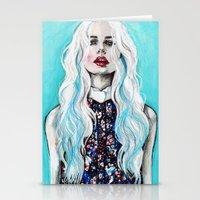 Fleur bleu Stationery Cards