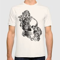 Butterfly rose skull with ladybugs. Good luck Mens Fitted Tee Natural SMALL