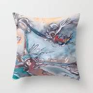 Throw Pillow featuring Soul Divers by Dawn Patel Art