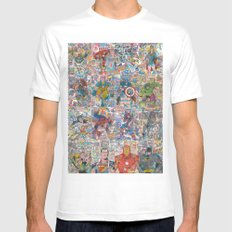Vintage Comic Superheroes Galore (Limited Time) Mens Fitted Tee White SMALL