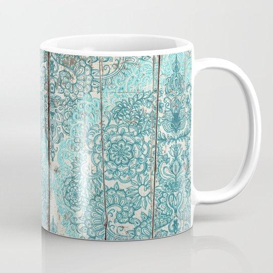 Teal & Aqua Botanical Doodle on Weathered Wood Mug