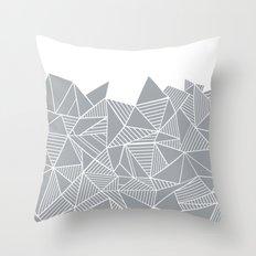 Abstract Mountain Grey on White Throw Pillow