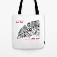 Tote Bag featuring I Love You 2015 Zentangl… by Vermont Greetings