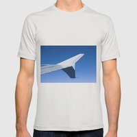 Airplane wing on a blue sky  Mens Fitted Tee Silver SMALL