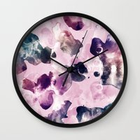 Ink Blooms Wall Clock
