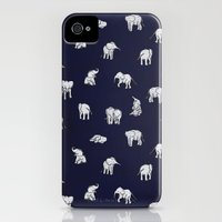 iPhone 4s & iPhone 4 Cases featuring Indian Baby Elephants in Navy by Estelle F