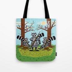 Raccoons Playing Bassoons Tote Bag