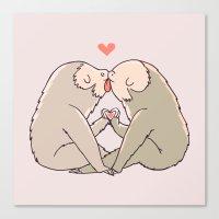 Sloth Kisses Canvas Print