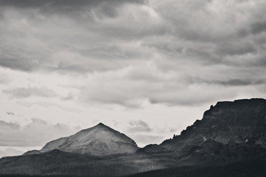 Mountain Peak and Plateau Black and White Art Print