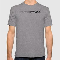 HelveticaismyGod Mens Fitted Tee Athletic Grey SMALL