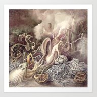 Art Print featuring SURREAL COMPOSITION (AQU… by AMULET