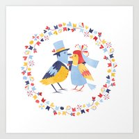 Wedding birds Art Print