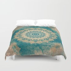 GOLD BOHOCHIC MANDALA IN GREENS Duvet Cover
