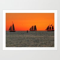 Key West - Sailboats in the Sunset Art Print