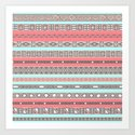 Peach Rose Baby Blue Aztec Tribal Native Pattern Art Print