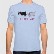 I Like You. Mens Fitted Tee Athletic Blue SMALL