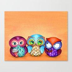 Autumn Owl Trio Canvas Print