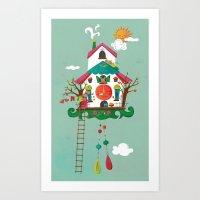 Cuckoo Mouse House Art Print