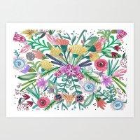Flower burst, Illustration, print, art, pattern, floral, flowers, colour, painting, design, Art Print