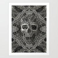 skull Art Prints featuring Lace Skull by Ali GULEC
