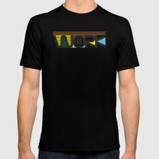WORK  Black SMALL Mens Fitted Tee