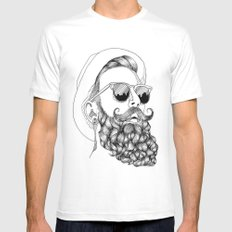 beard & sunglasses White SMALL Mens Fitted Tee