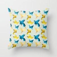 Paper Cranes In Flight Throw Pillow