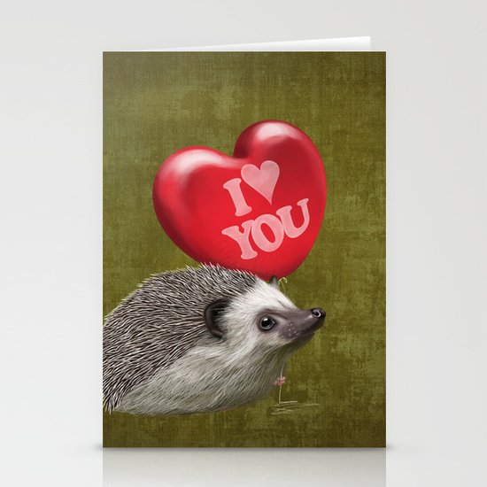 Hedgehog in love with a red balloon Stationery Card