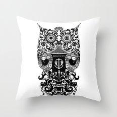 The Old Owl  - Black Throw Pillow