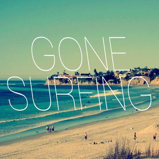 Gone Surfing Vintage California Beach Art Print