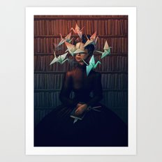 Library Lady Art Print