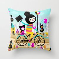 Morning Ride! Throw Pillow