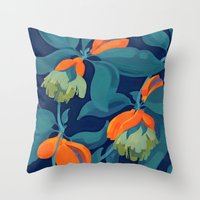 Tropical Orange Fruit Tr… Throw Pillow
