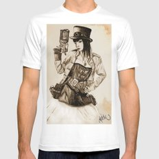 Steampunk Girl Mens Fitted Tee White SMALL
