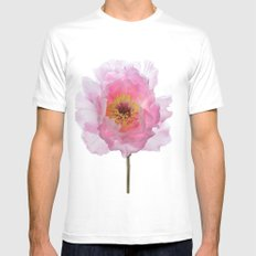 Pink Tree Peony White Mens Fitted Tee SMALL
