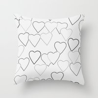 Black And White R Hearts Throw Pillow