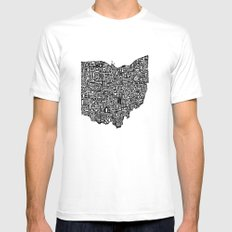 Typographic Ohio White Mens Fitted Tee SMALL