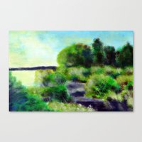 Painting of a pond Canvas Print