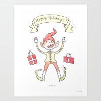 Holiday Card - Ecstatic Elf Art Print