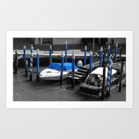 Boats in Venice in b&w and blue Art Print