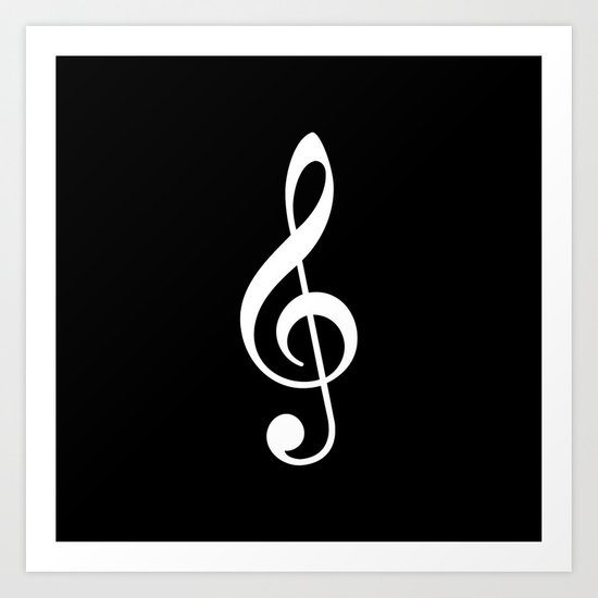Black And White Treble Clef Art Print By The Colour