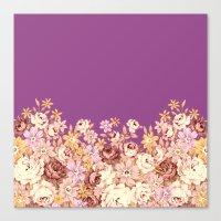 floral decor on purplish pink Canvas Print